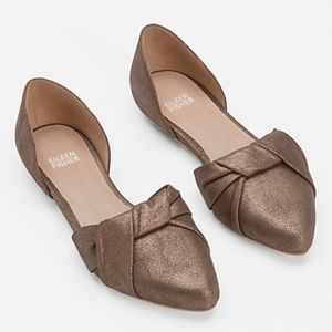 Eileen Fisher Suede D'orsay Twisted  Metallic Flat